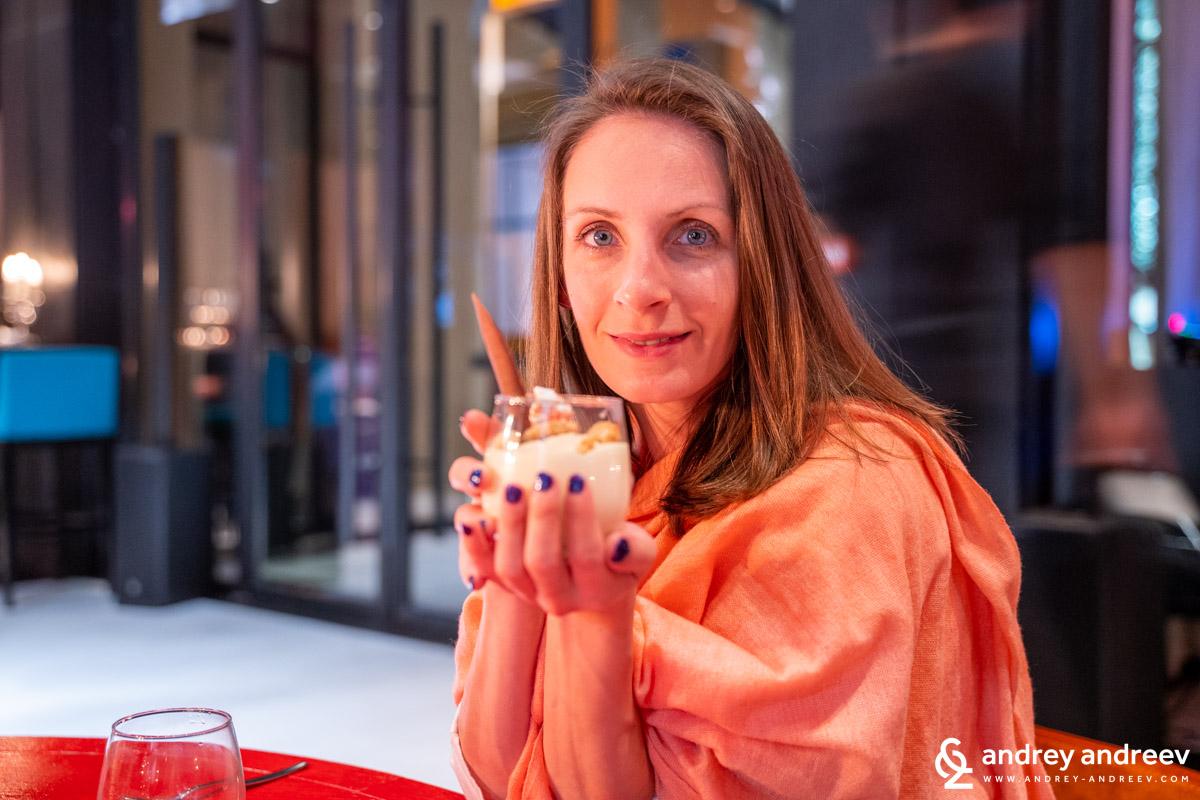 Maria loving her affogato at Urban Brasserie, Movenpick Marrakech