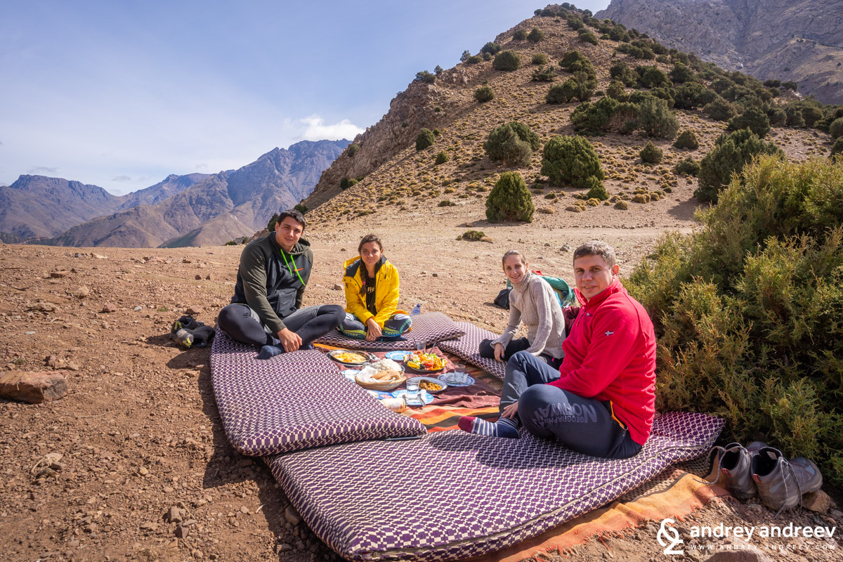 Our cozy table at the Tizi Mzik pass in High Atlas, Morocco