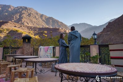 Maria and I, enjoying the view to the High Atlas mountains from Kasbah du Toubkal