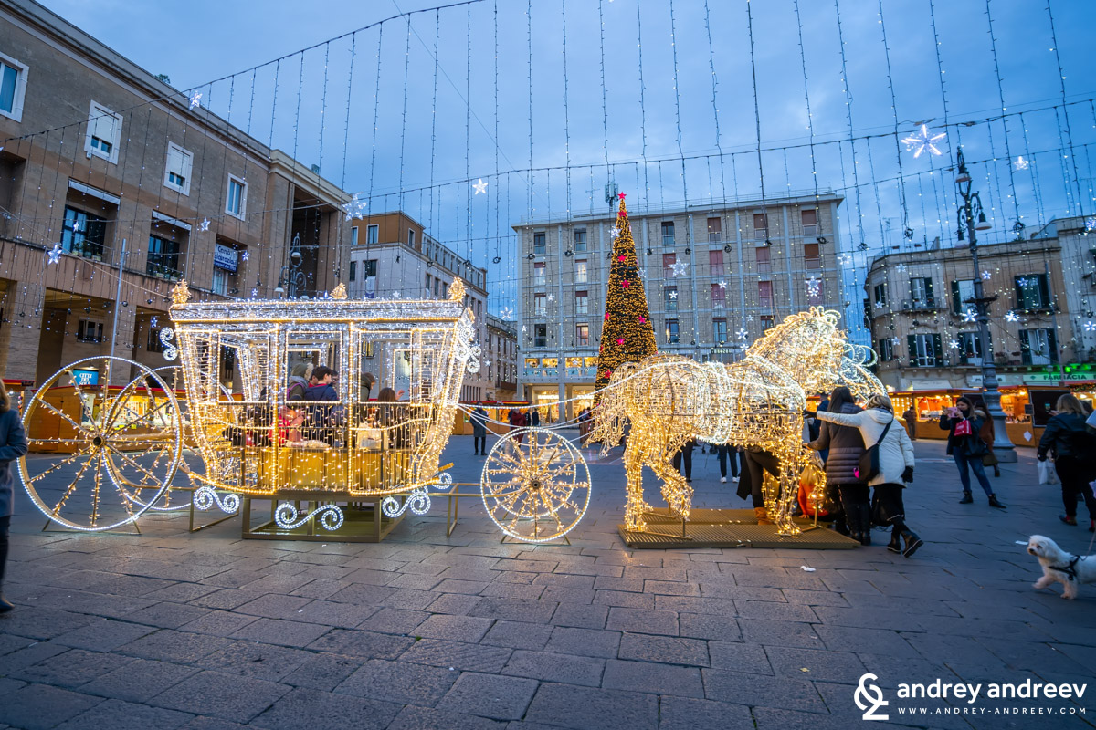 Santa's ride at Sant' Oronzo square in Lecce