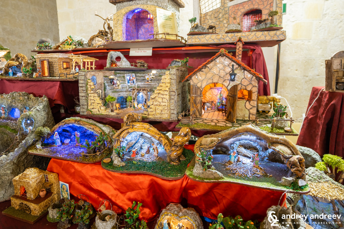 Exhibition of Christmas decorations in Castello Carlo V in Lecce, Puglia, South Italy