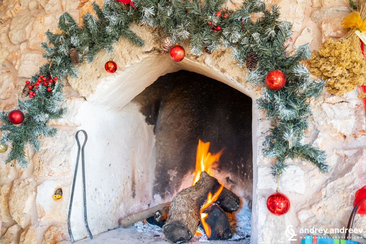 The view of Christmas - fireplace and pines