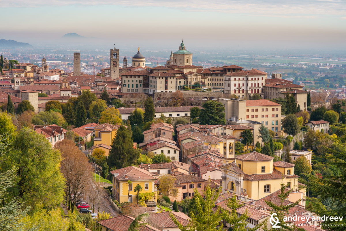 View towards the Upper town of Bergamo