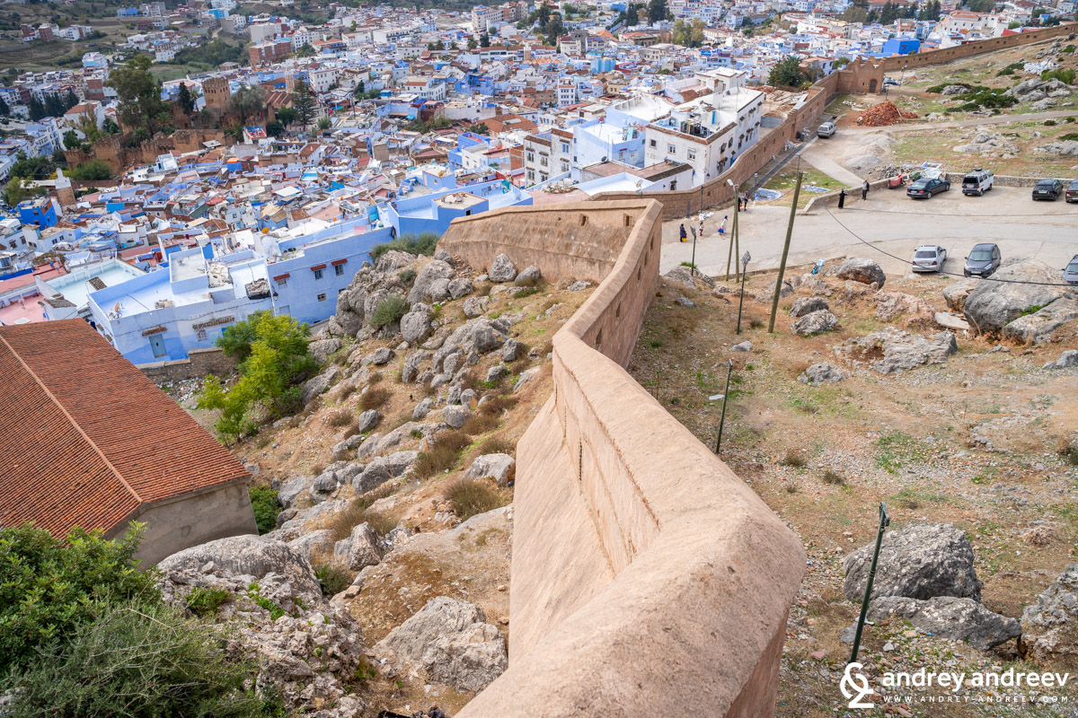 The fortification walls above Chefchaouen Morocco