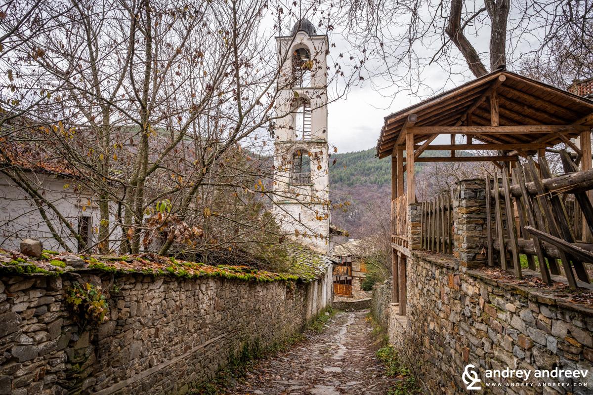 The bell tower of Sveti Nikola church in Kovachevitsa