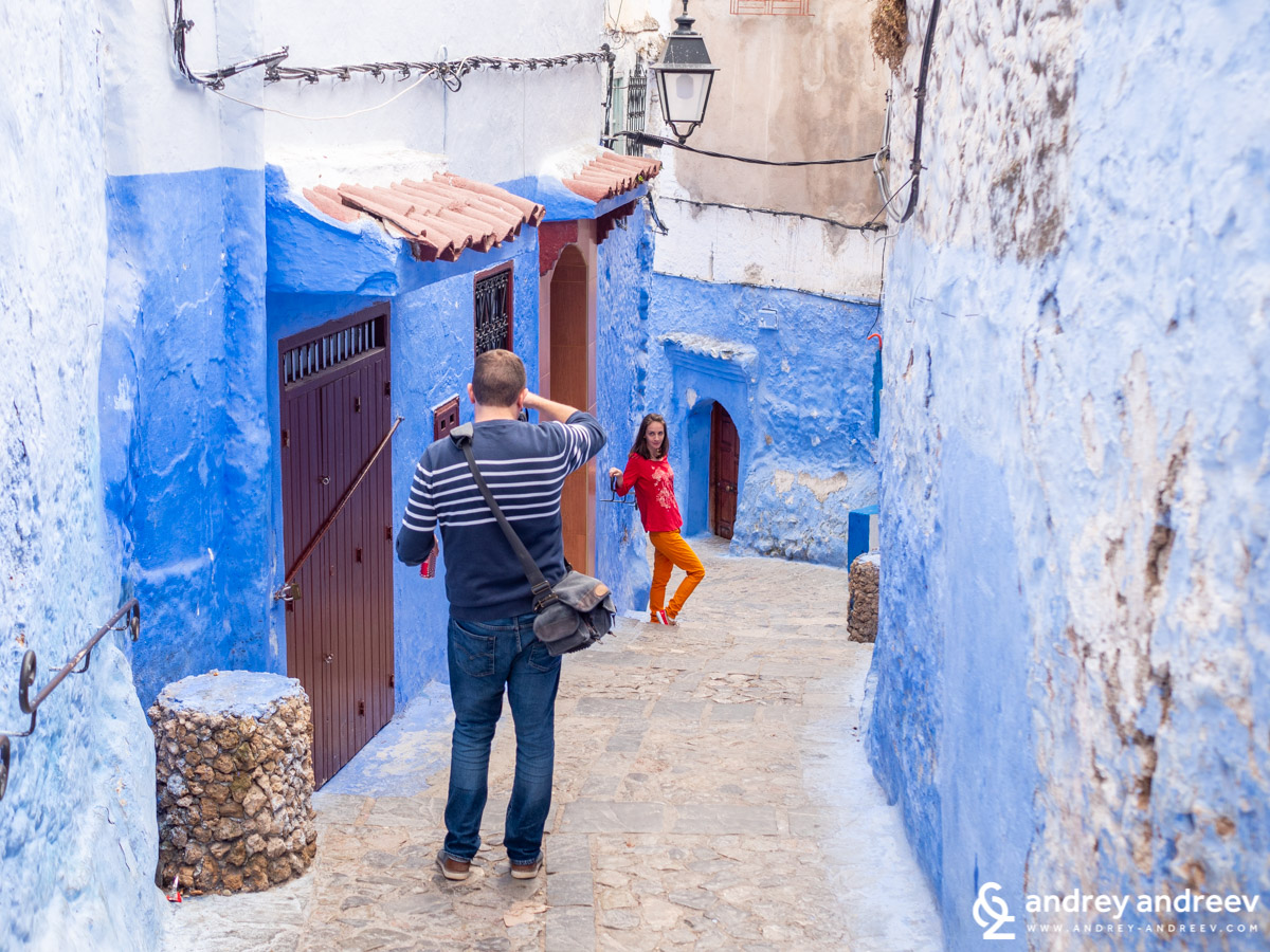 Me , taking photos of Maria in Chefchaouen
