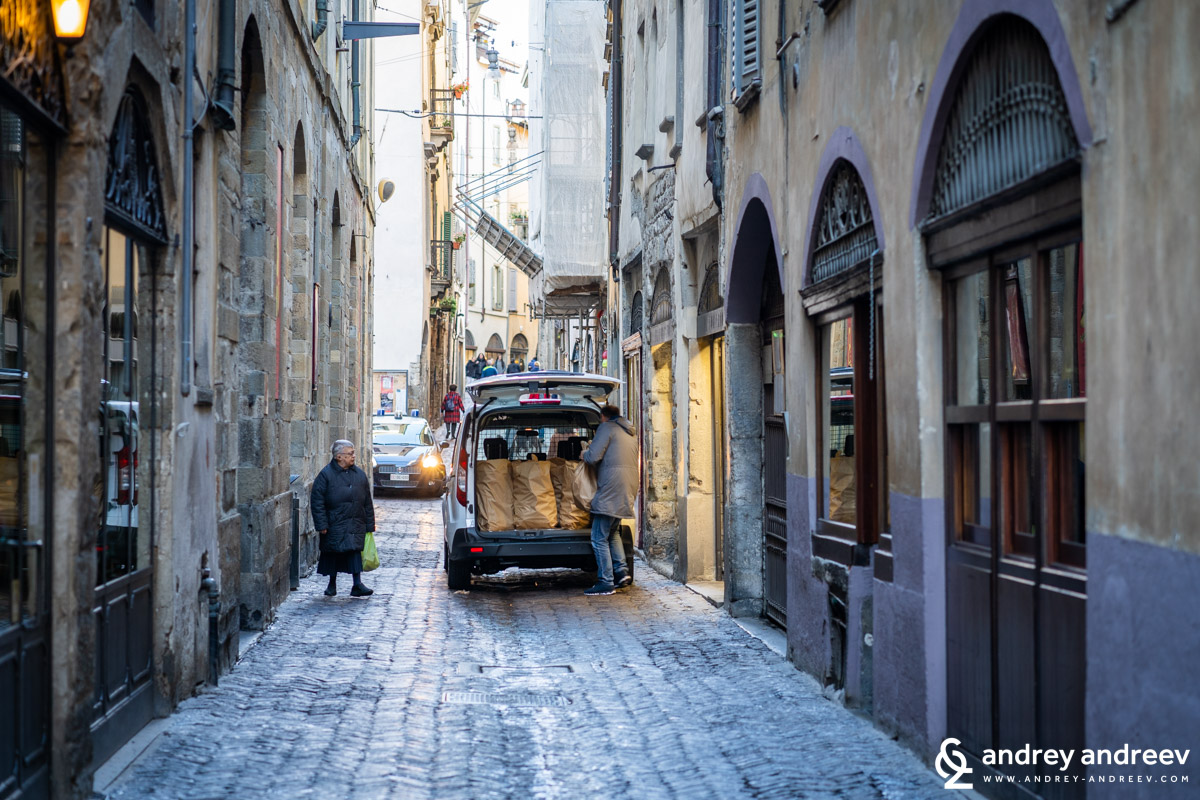 Early morning bread deliveries in Upper town Bergamo