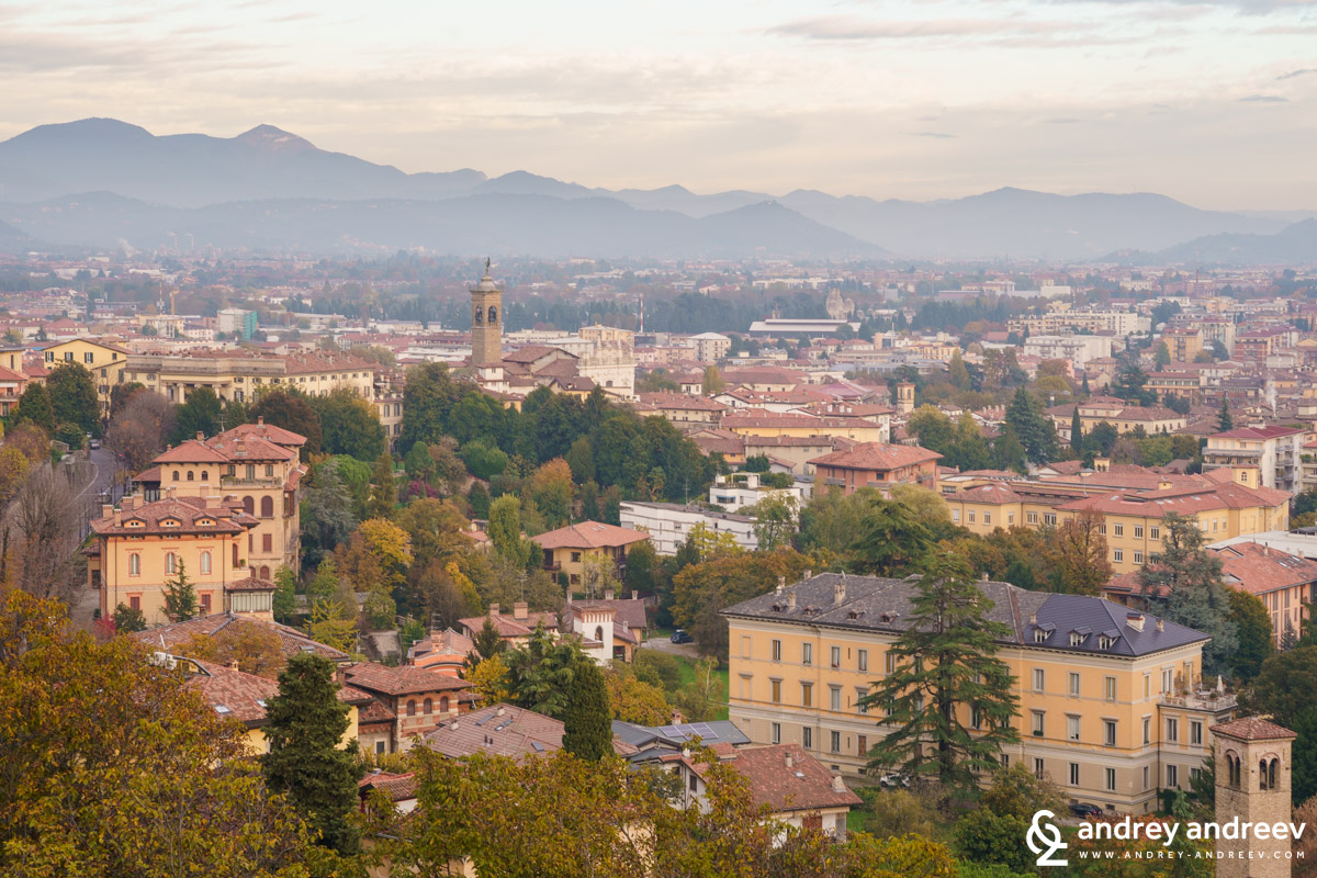The Lower town of Bergamo and the Alps in the background