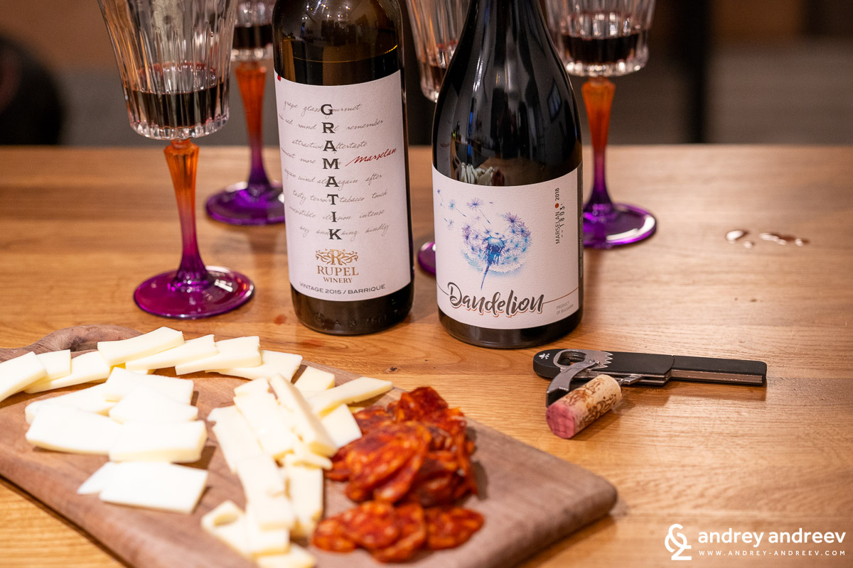 Opening the bottles and starting the game for adults - two marselan wines from Bulgaria