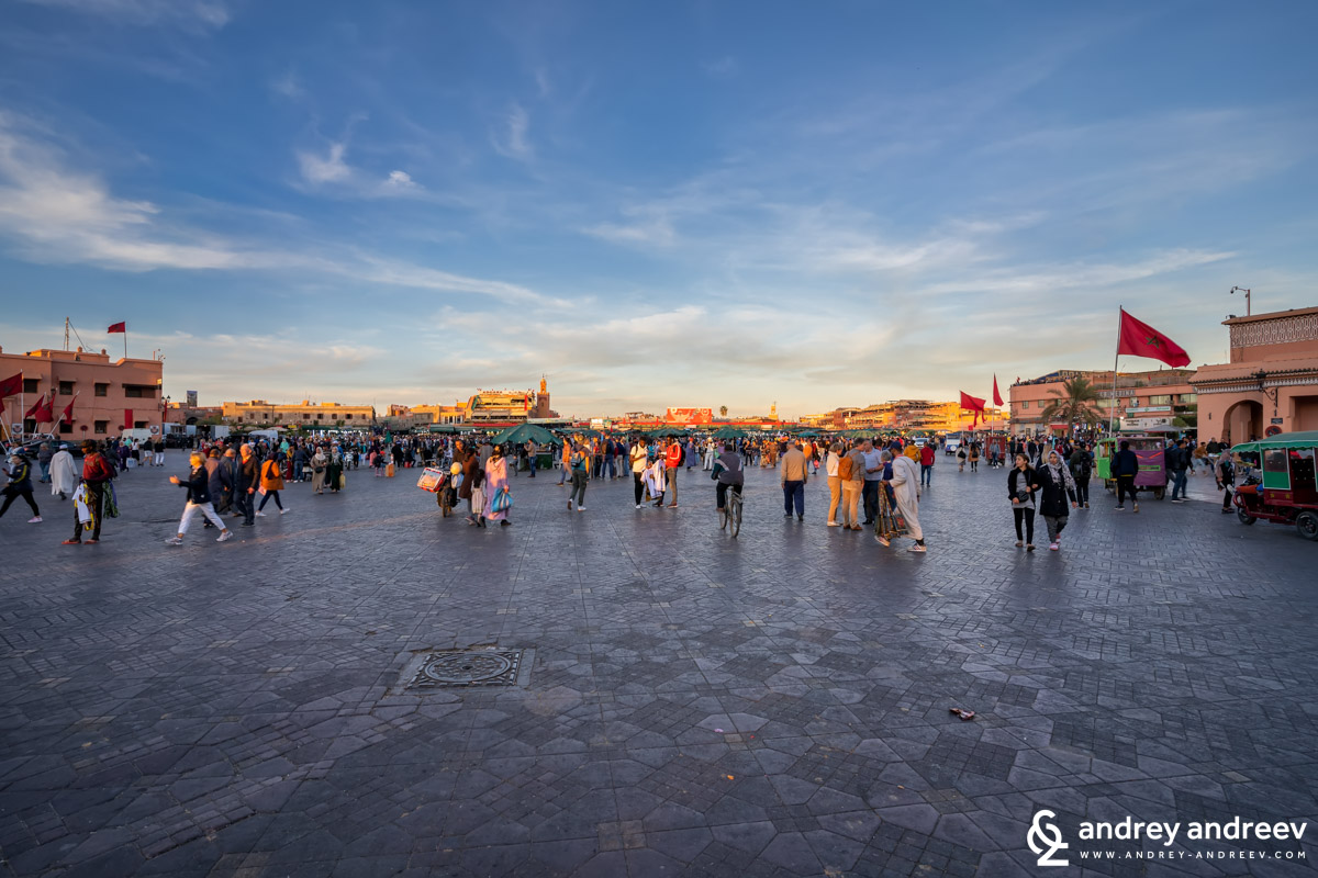 The Jemaa El-Fnaa square in Marrakech Morocco