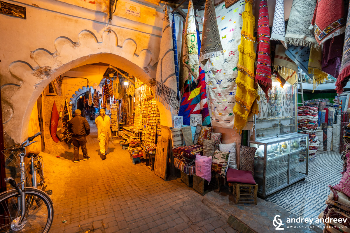 The many streets in the Marrakech medina, full of shops, restaurants and riads, where you can easily get lost
