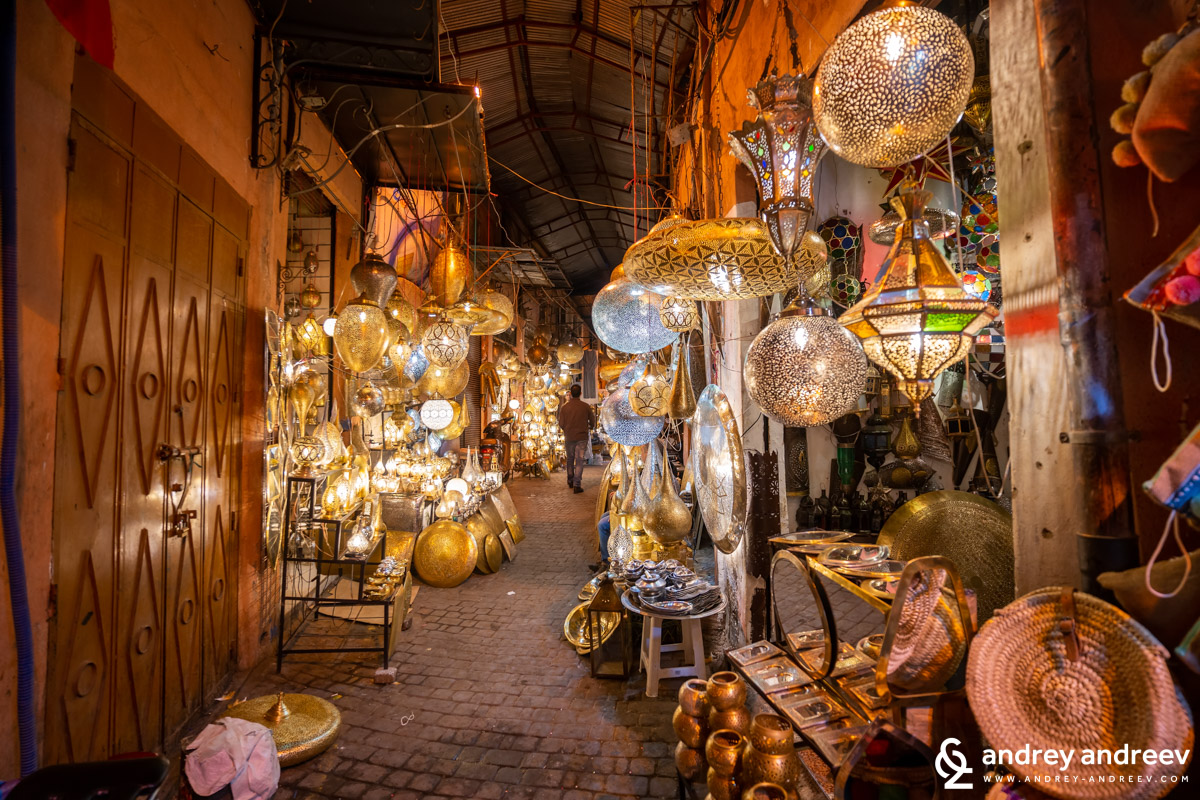 The beautiful lamps in Moroccan style, you can see them in many shpos in Marrakech medina