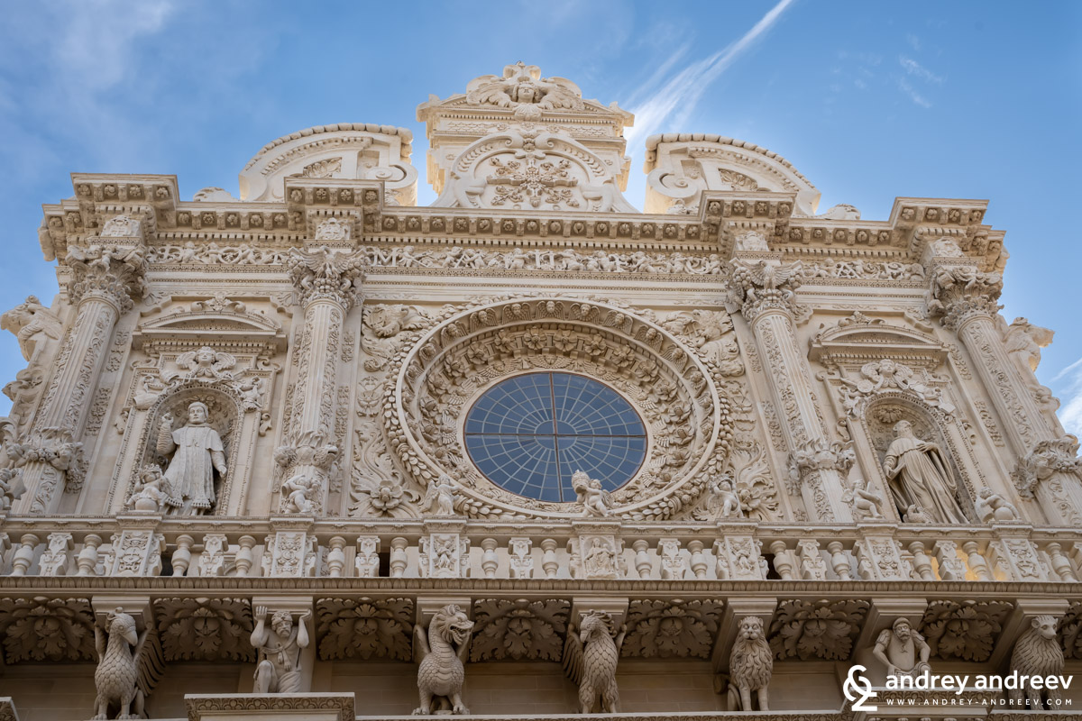A part of the facade of the Basilica di Santa Croce in Lecce, Italy