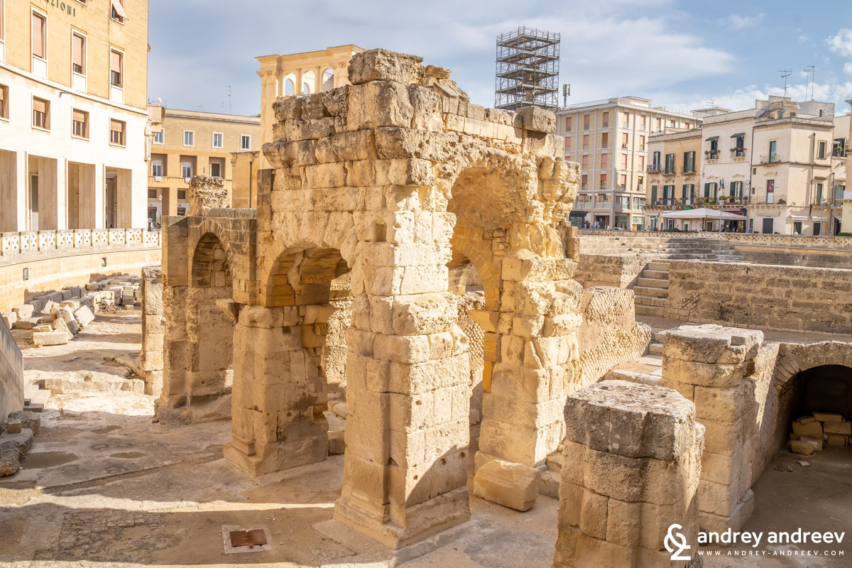 The remains of the amphitheatre in Lecce, South Italy