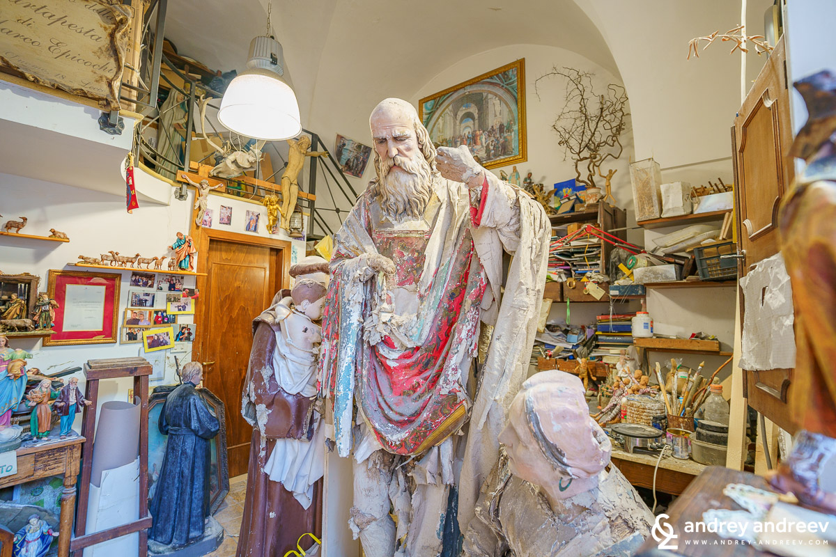 Inside one of the many ateliers for papier-mâché in Lecce