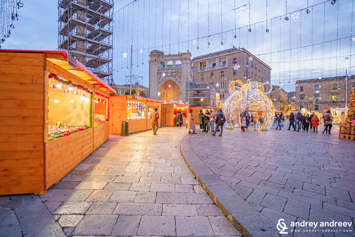 The Christmas houses at Sant'Oronzo square in Lecce, Italy