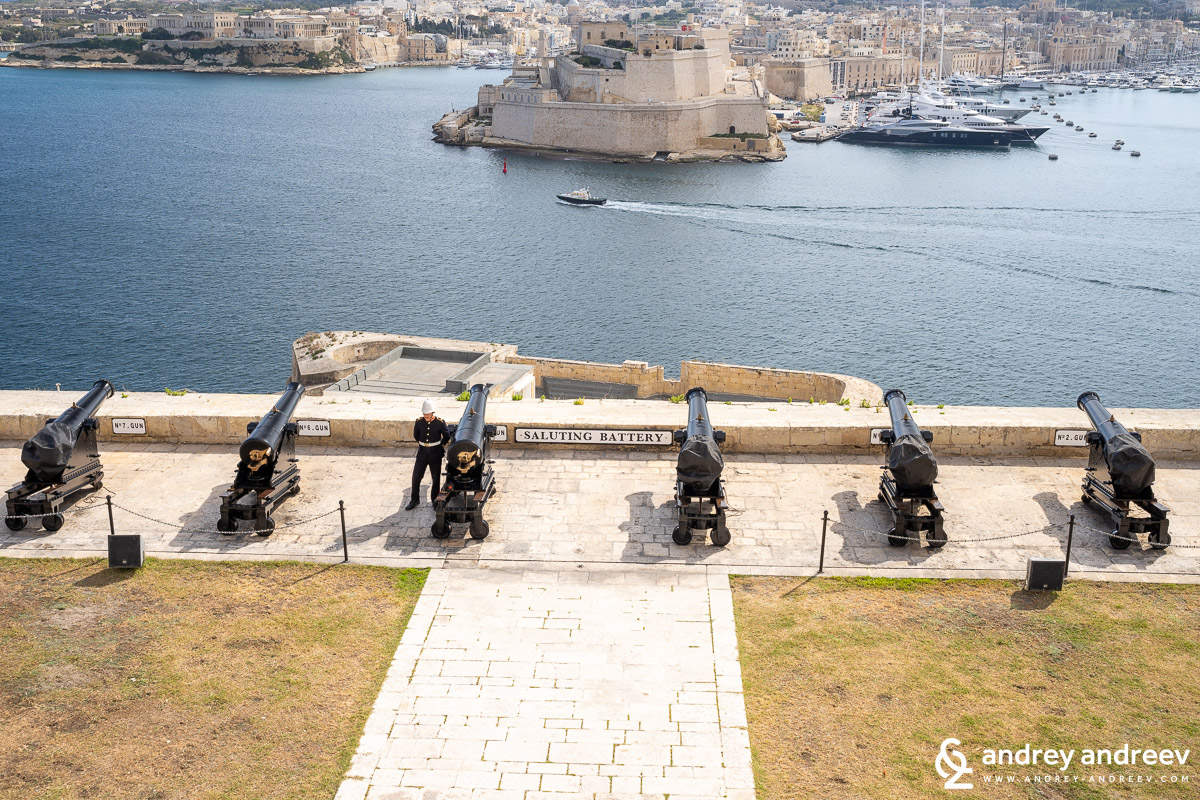 The saluting battery in Valletta, Malta