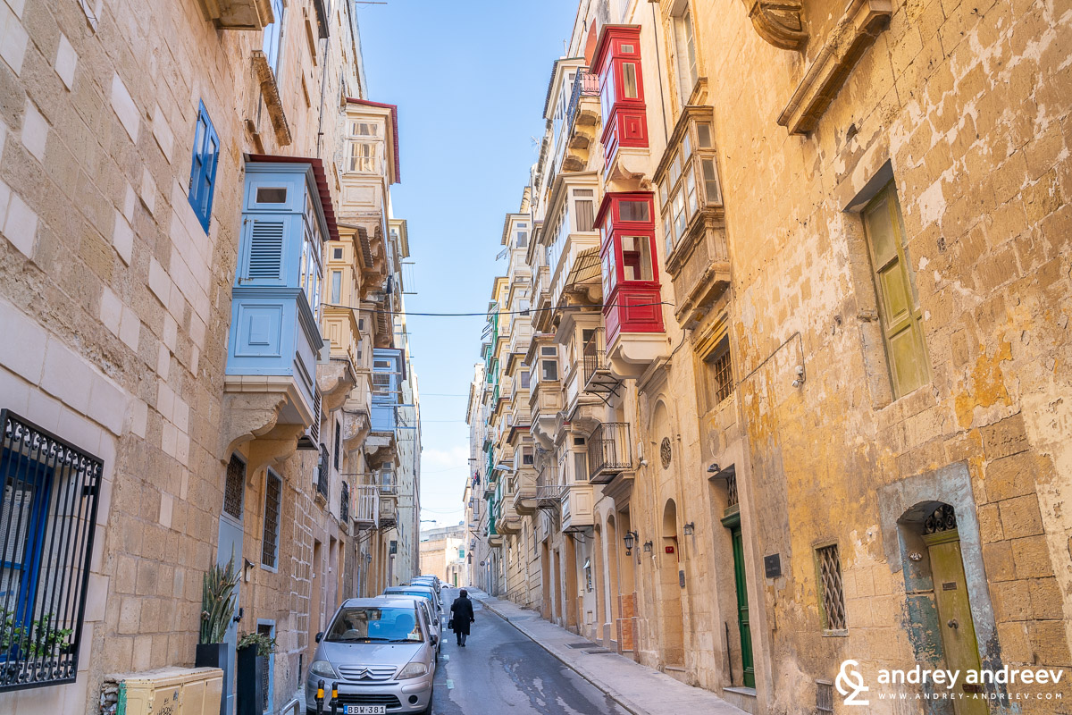 The typical facades of Valletta