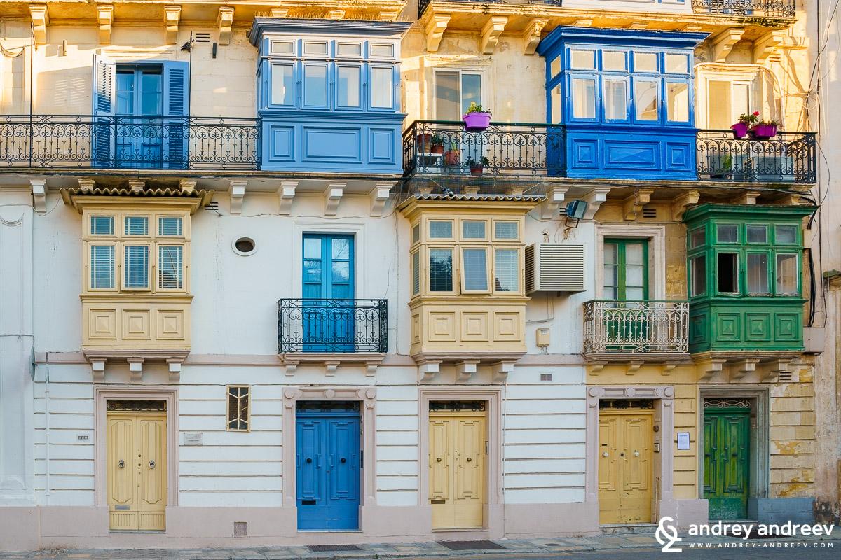Facades typical for Valletta