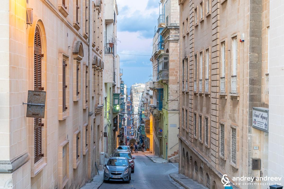 The steep streets of Valletta, Malta