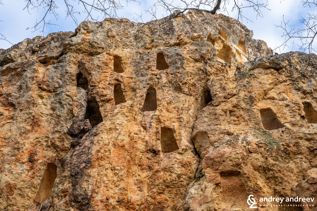 The mysterious Deaf Stones (Gkuhite Kamani) rocks with hundreds of niches cut into them