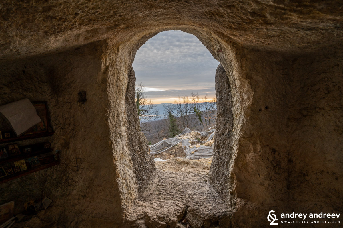 The view from the entrance of the cave-chapel