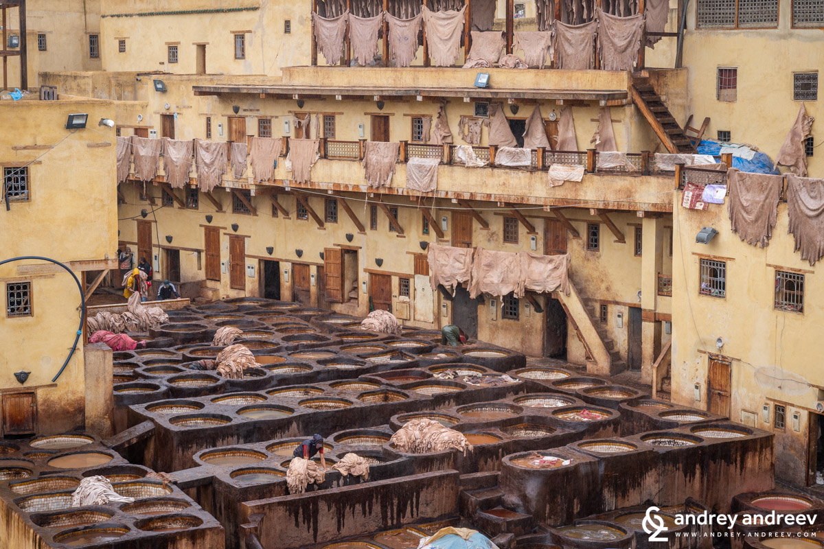Leathers hanged to dry in the tannery