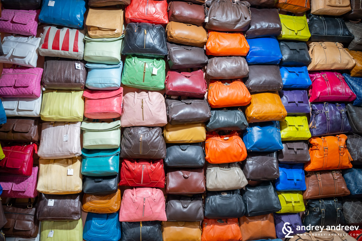 Leather products near the Chouara tannery in Fes