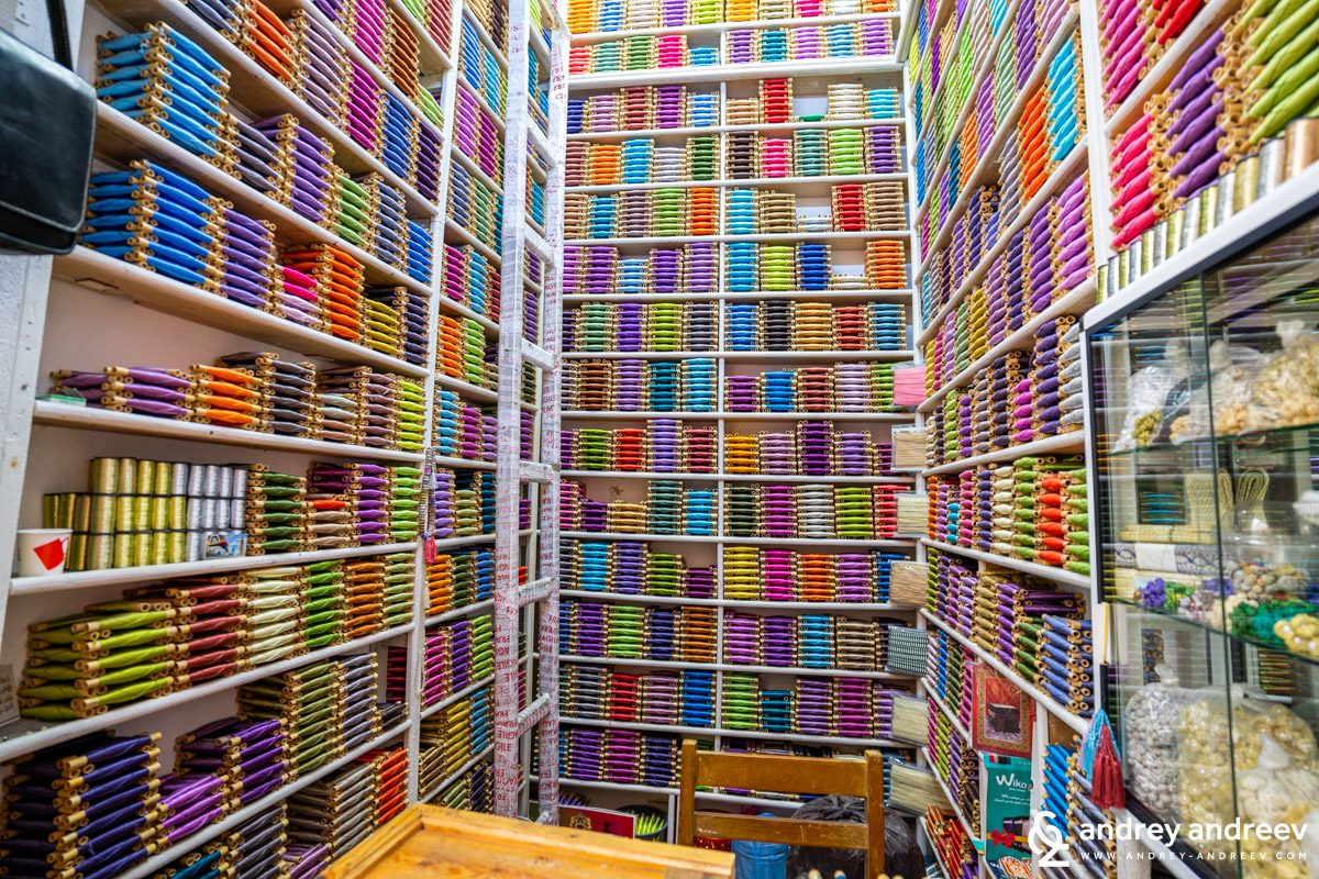 Numerous of sewing threads on sale in one of the shops in the Fes medina