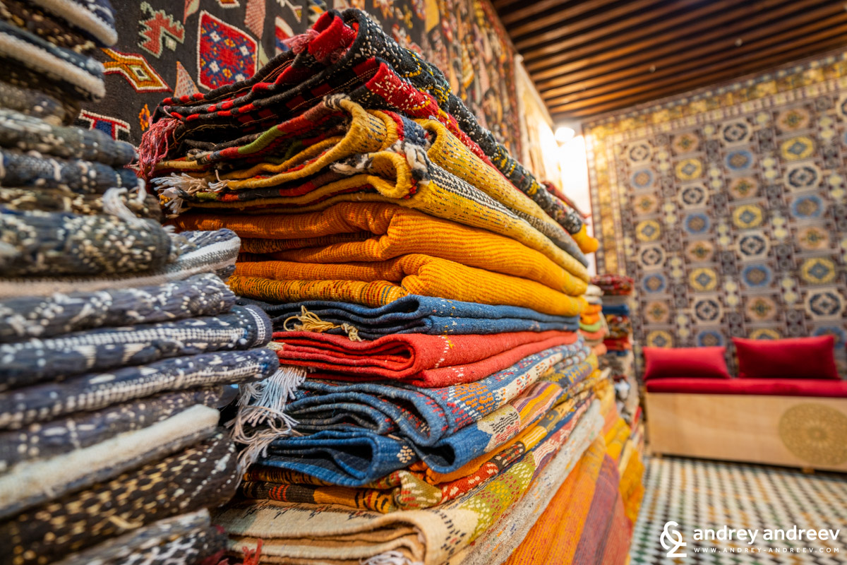 Hand-made carpets in Fes, Morocco