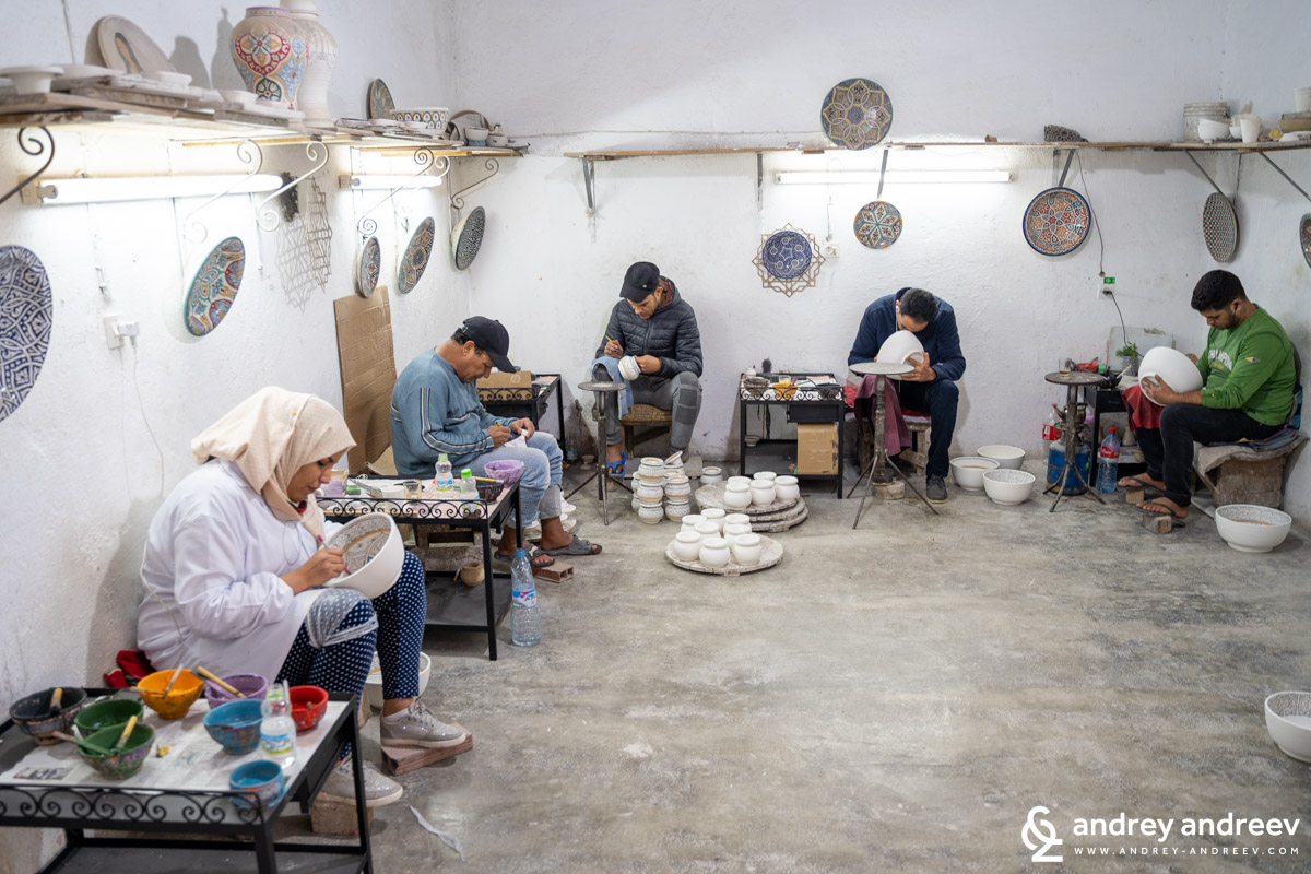 Decorating pottery in Morocco
