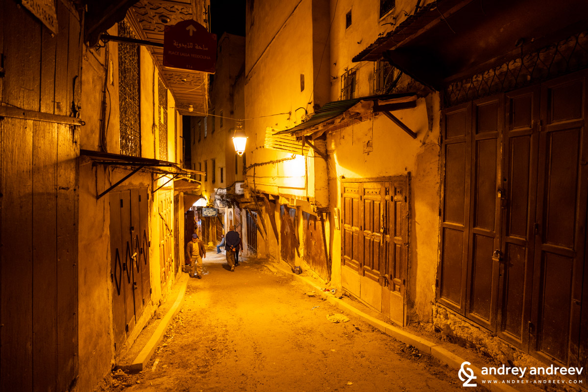 The medina of Fes in the night, when the shops are closed