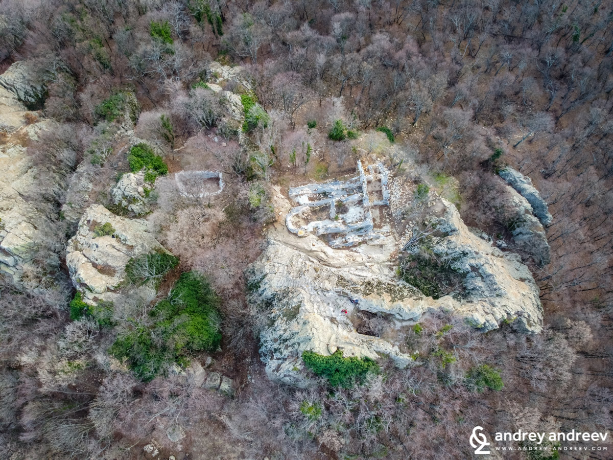 Gluhite Kamani and the remains of two churches, seen from the air