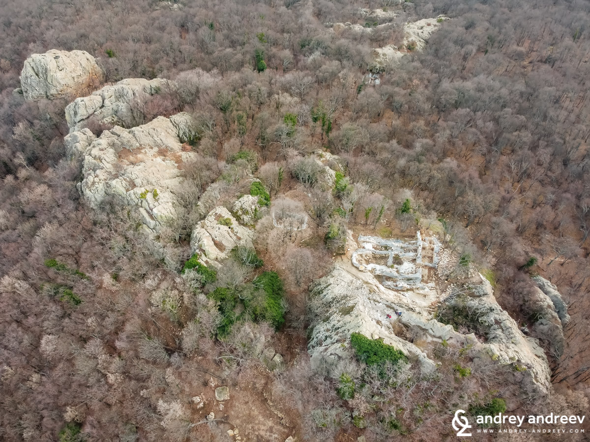 The rocky area Gluhite Kamani in Bulgaria, seen from the air