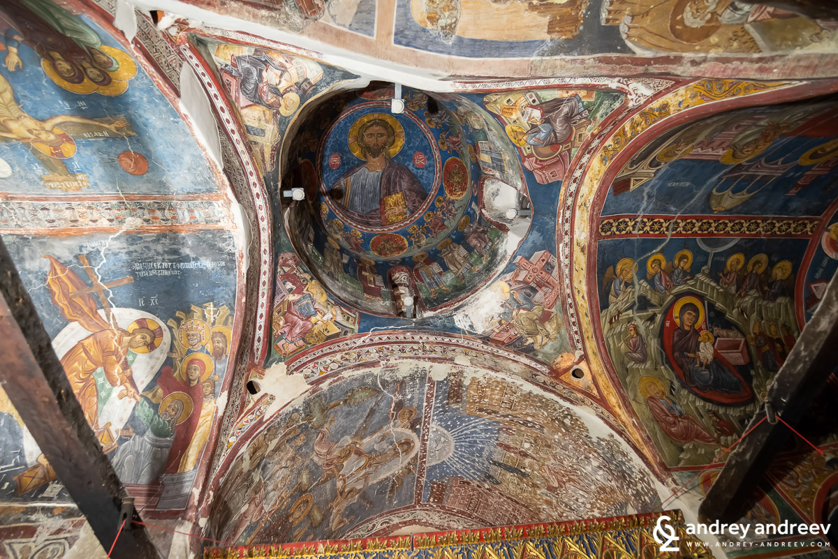 The inside of the church Agios Nikolaos tis Stegis (St. Nicholas of the Roof) near Kakopetria