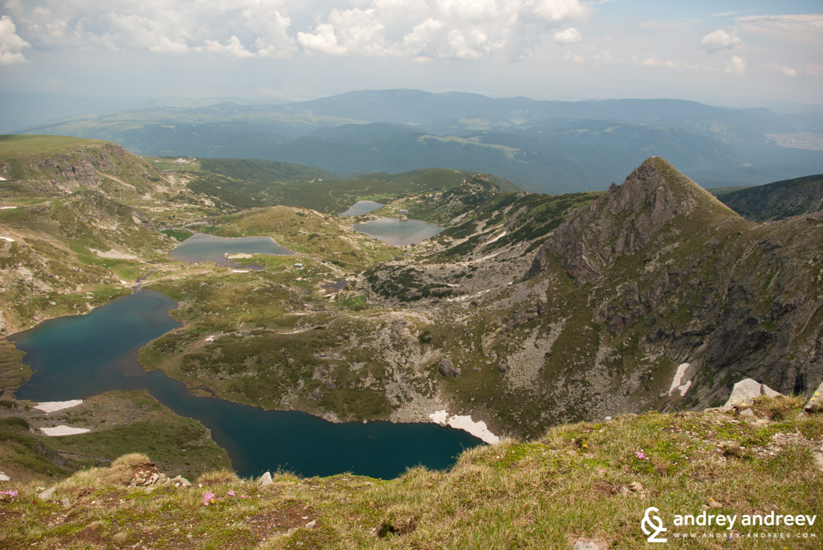 Four of the Seven Rila Lakes - the Twin, the Trefoil, the Fish lake and the Lower lake