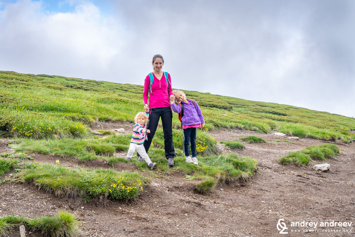 Maria and the kids in the Rila mountain