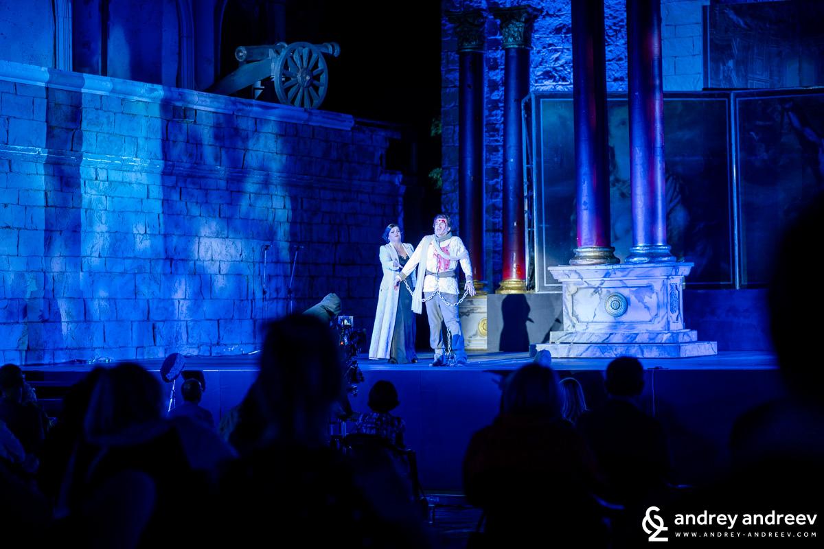 """Сцена от операта """"Тоска"""" на Пучини на римския площад в киноцентъра в Бояна"""