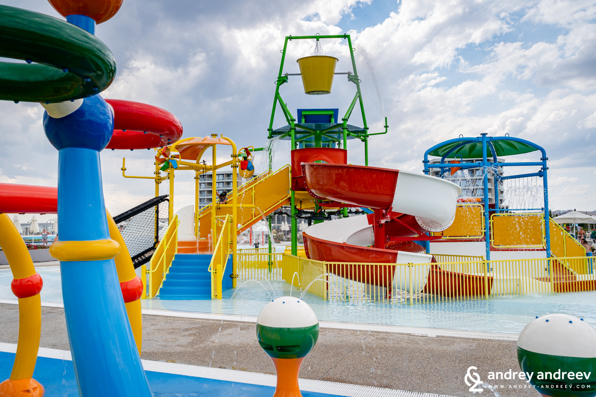 The children's aqua park with water slides
