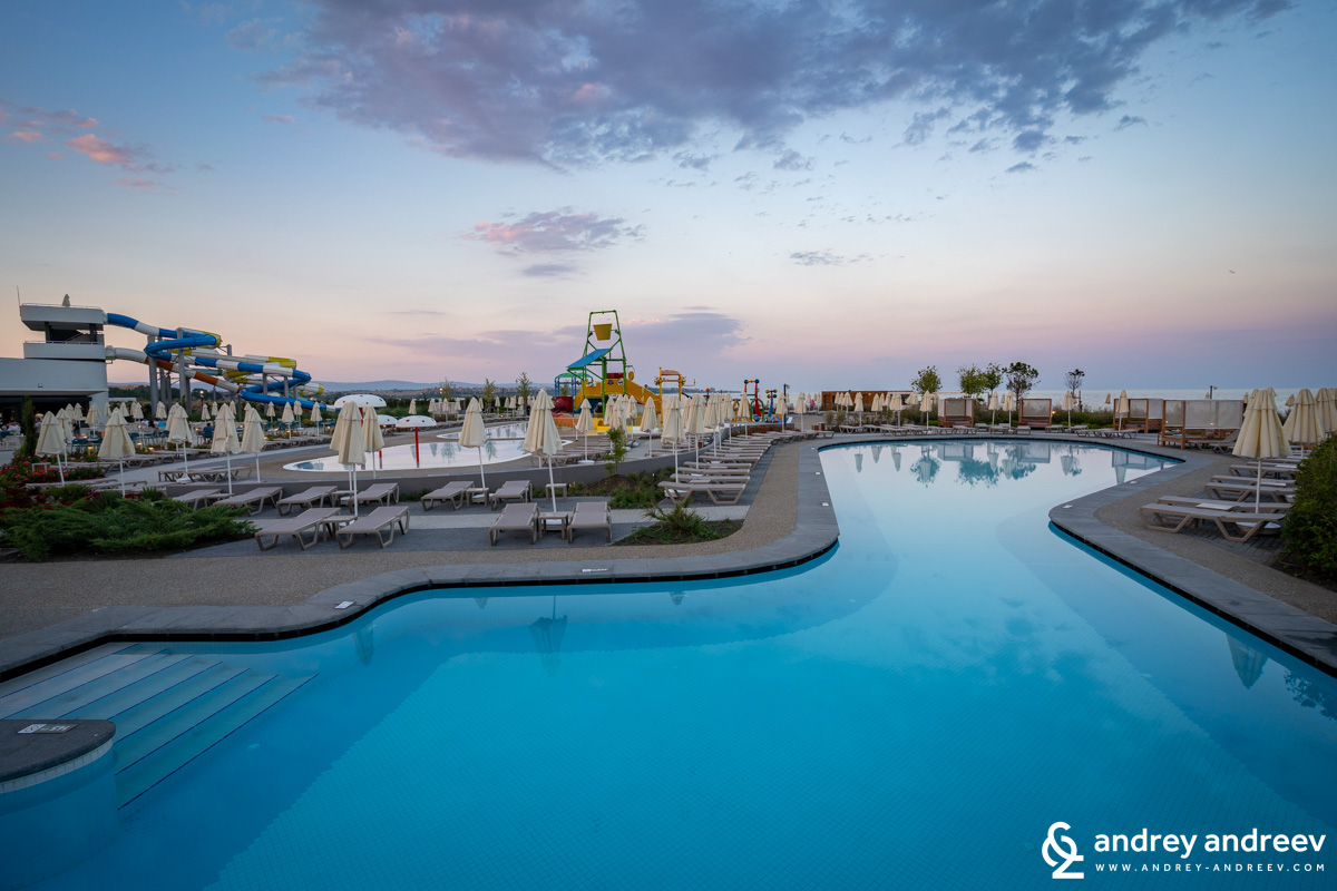 The pools on sunset - Wave Resort Pomorie Bulgaria
