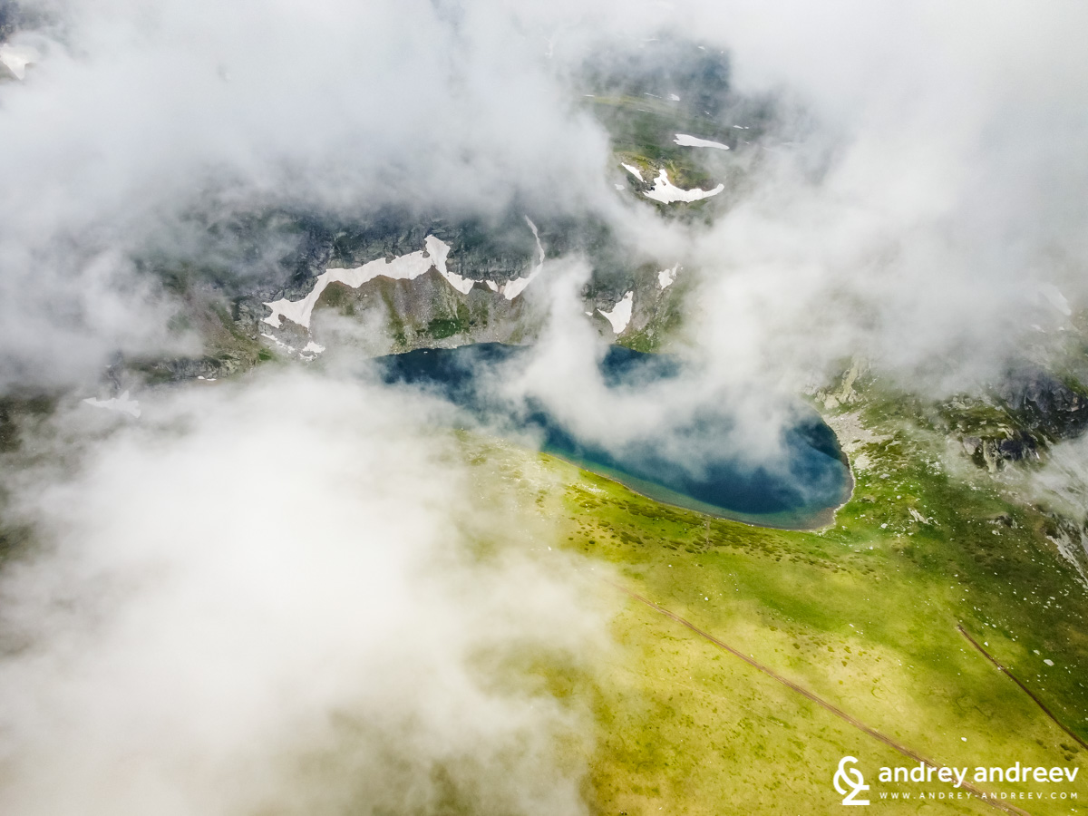 A part of The Kidney lake beneath the clouds - Seven Rila Lakes Bulgaria
