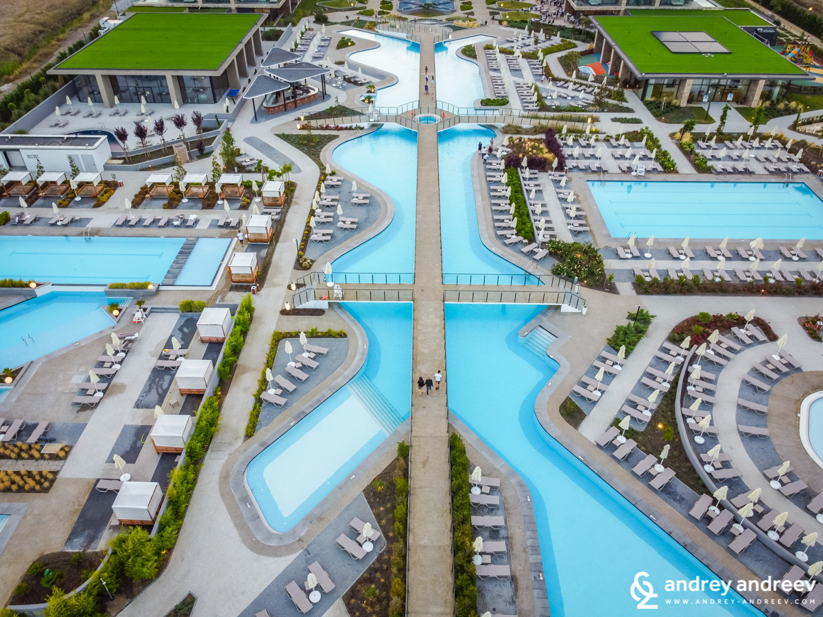 Aerial view of some of the pools at Wave Resort