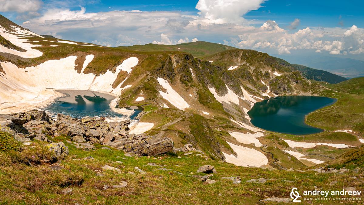 Okoto lake (left) and Babreka - Seven Rila Lakes Bulgaria
