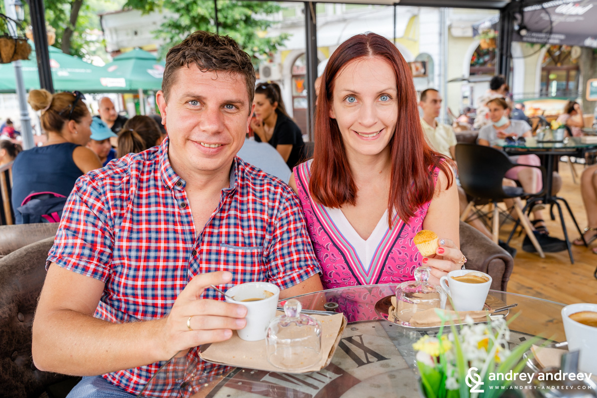 Mimi and Andrey having coffee in Lovech