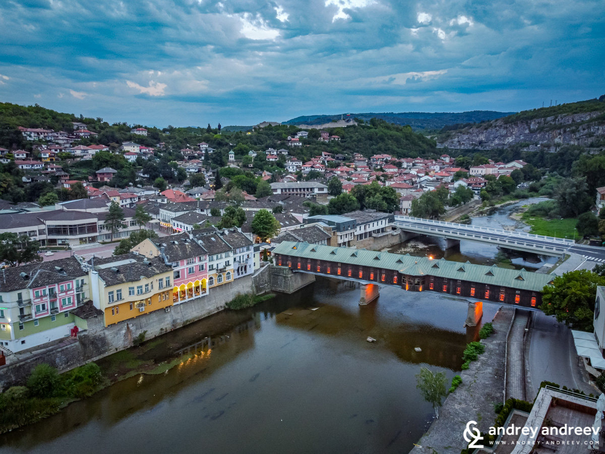 The covered bridge seen from the air - Lovech Bulgaria