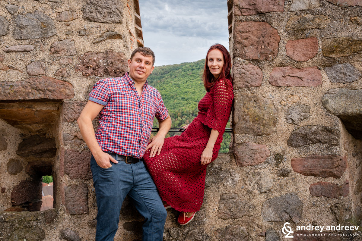 Fun moments on the tower of the Kaysersberg castle, before the dinner