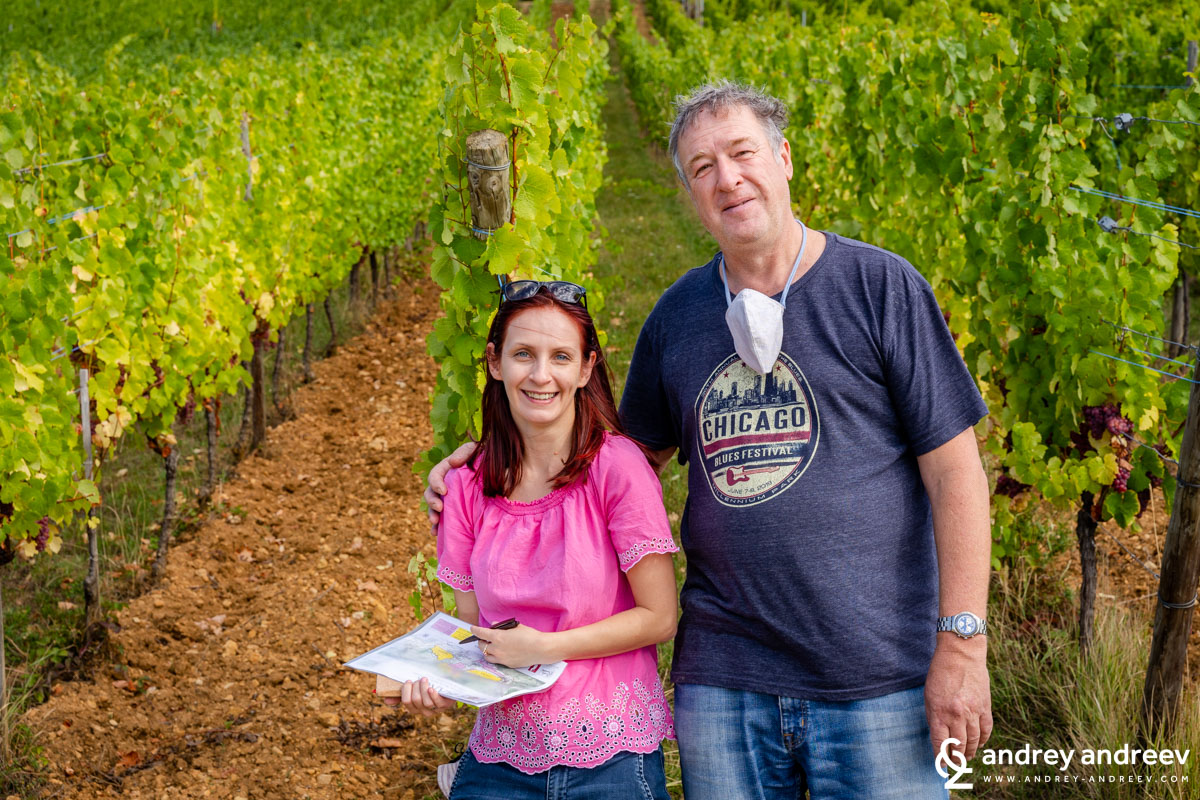Philippe Blanck and Maria in the vineyards