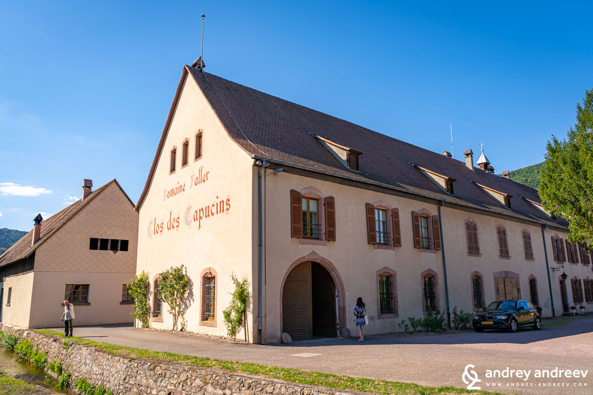 The buildings of Domain Weinbach amidst Clos des Capucins vineyard
