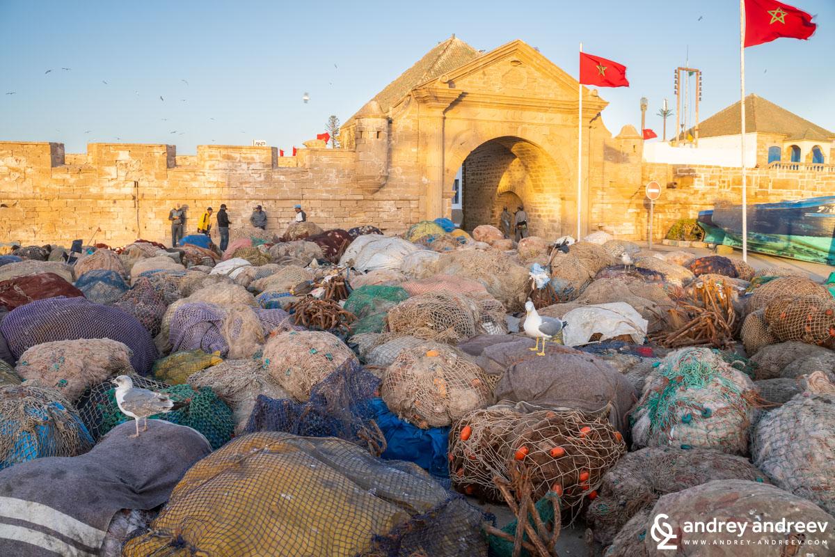 Баб ел Марса (Bab El Marsa – Порта на моряците) - портата извеждаща на пристанището и рибарските мрежи изтеглени на брега