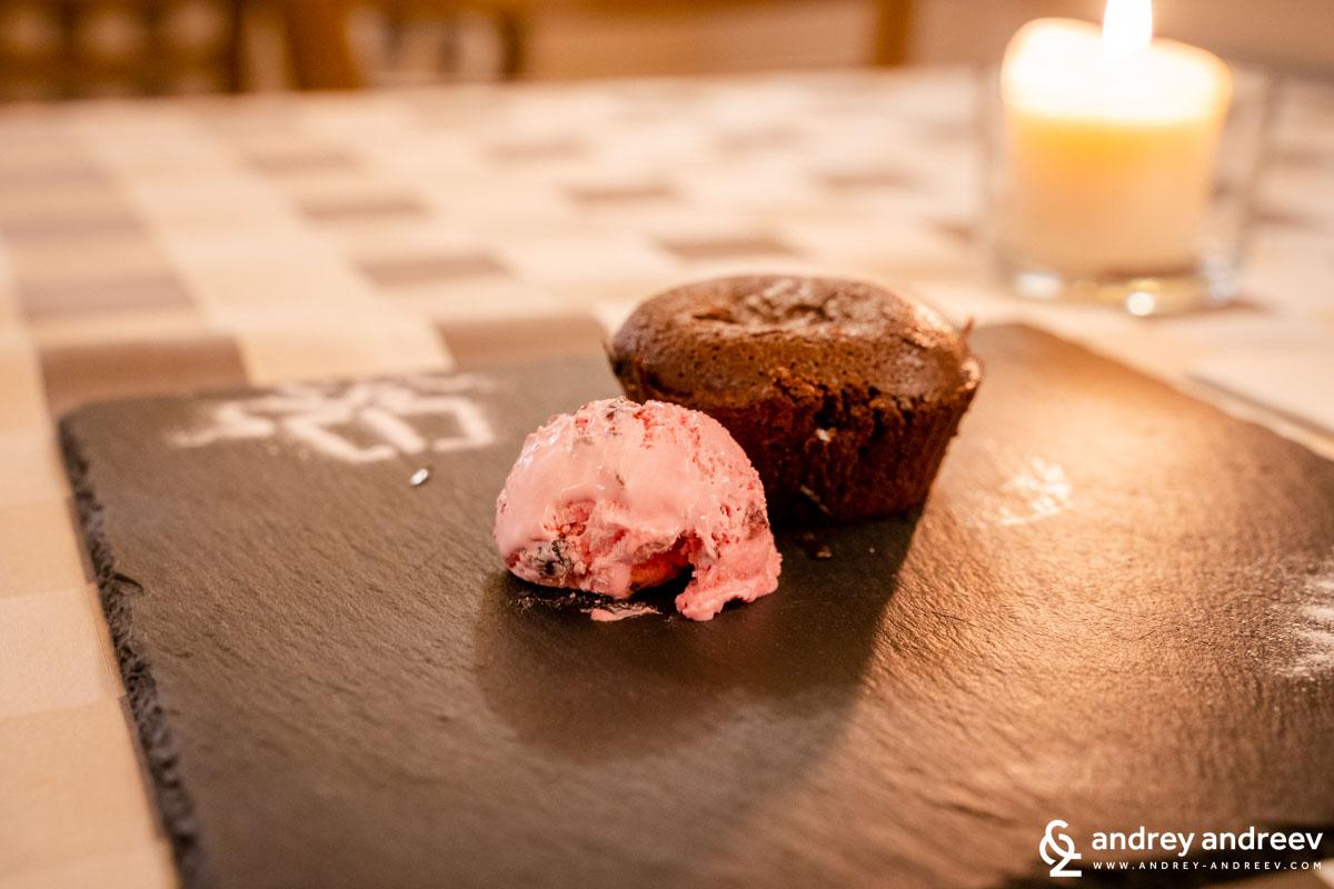 Шоколадово суфле с домашен сладолед